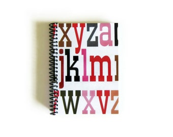 Big Letters A6 Notebook Spiral Bound - Blank Sketchbook, Writing Journal, Back to School, Diary, Pocket, Cute, 4x6 Inches, Gifts Under 20
