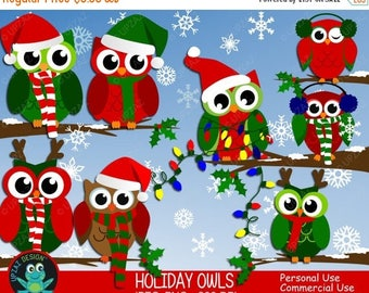 75% OFF SALE Christmas Owl Clipart, Commercial Use, Holiday Owl Clipart, Digital Clipart, Digital Images - UZ605