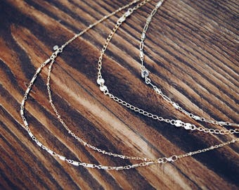 Layered necklace, Gold necklace, Gold layered necklace, Layered chain necklace, Boho necklace, Multi layered chain necklace, Choker necklace