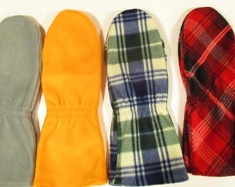 Mens Mittens Handmade PRINT OR Solid Color Fleece Mittens Mens Thumbless & Regular mittens