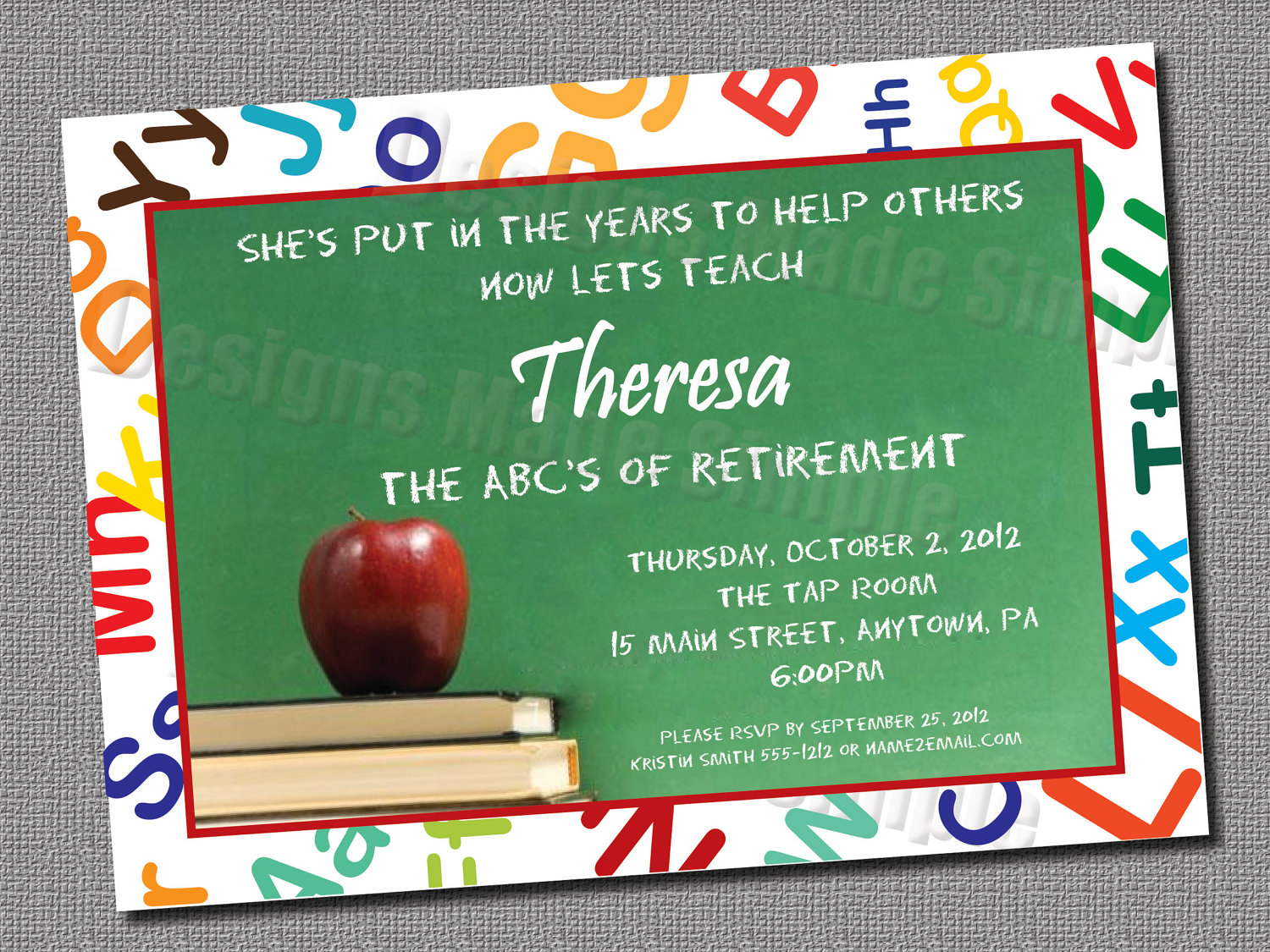 teacher retirement party invitation custom printable, Powerpoint templates