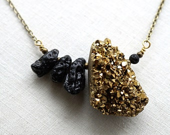Gold Druzy Necklace Black Lava Stone Essential Oil Diffuser Necklace Druzy Crystal Necklace Bronze Chain Tribal Statement