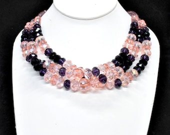 crystal pink and purple necklace