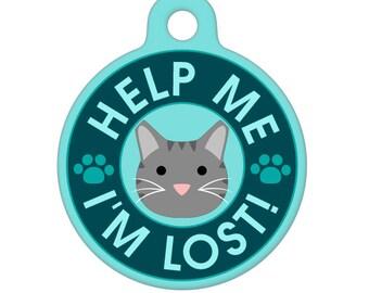 Pet ID Tag - Help Me, I'm Lost - Gray Tabby Cat Pet Tag, Dog Tag, Cat Tag