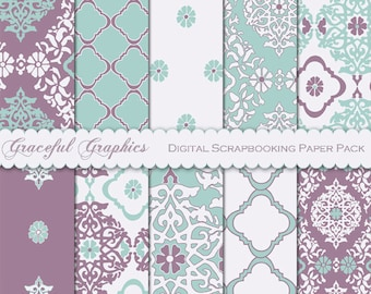 Scrapbook Paper Pack Digital Scrapbooking Background 8.5 x 11 Papers Asian LANTERN Terra Cotta Brown Damask 10 Sheets 2077gg