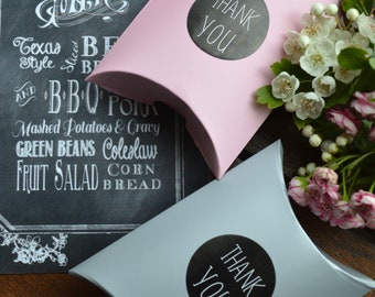 Light pink & grey pillow favour boxes
