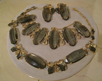 Estate Vintage Signed Schiaparelli Necklace, Bracelet, Earring Set - RARE