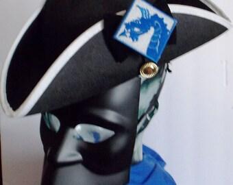 Captain of Blue Dragon Regiment,Continental Army,size 7, black felt tricorner hat, white brim trim, 8 point top decor patch, reenactments.,