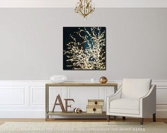 Canvas Wall Art: Abstract Art, Surreal Wall Art Canvas Art, Dreamy Lights, Teal Aqua Gold Yellow, New York City Art New York City Canvas.