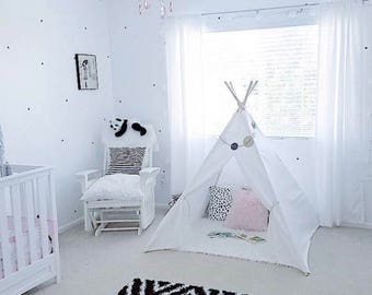 SALE!! Poles Included Teepee Play Tent Solid White- 4 panel