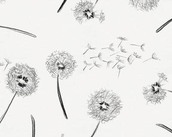 Hand Drawn Dandelion Organic Fabric - By The Yard - Girl / Modern