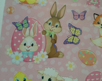 set of 47 stickers stickers with bunnies, chicks, duck and pig Easter