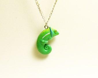 Miniature chameleon necklace