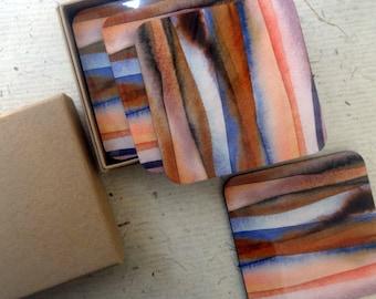 blue and brown glaze coaster