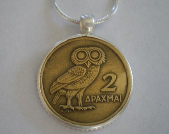 """Sterling Silver Bezel-Set Greek Owl Coin Athena Pendant on 24"""" Sterling Silver Chain"""