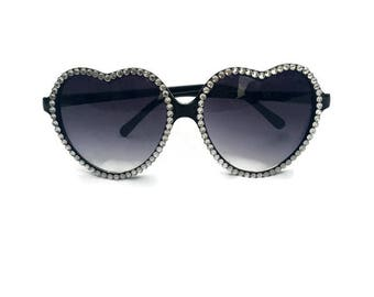 Black Heart Shaped Sunglasses with Rhinestones, Heart Sunglasses, Rhinestone Sunglasses, Retro Sunglasses, Embellished Sunglasses, Cute