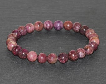 7mm Pink Tourmaline Bracelet, Tourmaline Jewelry AAA Grade Tourmaline Stacking Bracelet Anxiety Relief Healing Energy Purification Grounding