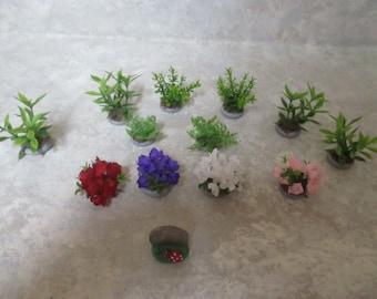 "12 Miniature doll/dollhouse/train Landscaping bushes/ferns/silk azaleas 1 3/4"" to 1""h"