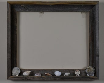 Aged Wood Frame with Seashells