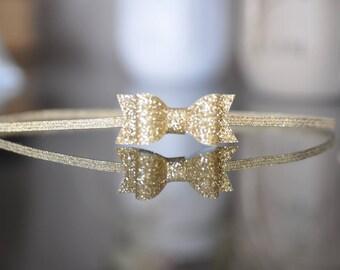 Solid Gold Bow Headband. Baby Headband. Glitter Bow Headband. Gold Headband. Infant Hair Bow. Newborn Girl Headband, Baby Girl Hair Bow,