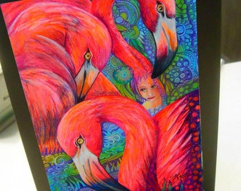 greeting card print of original art-  flamingo mob #2 Zentangle spirit animal