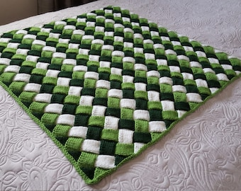 Handmade Knit Green and White Entrelac Baby Blanket/Knit Entrelac Toddler Blanket/Knit Entrelac Children's Blanket/Knit Crib Blanket