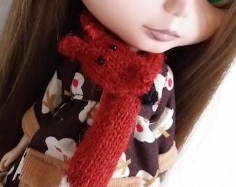 PDF knitting pattern for Foxy scarf for Blythe doll