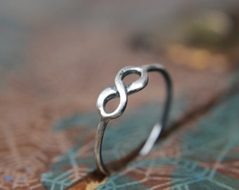 To Infinity Stacking Ring. Sterling silver infinity ring. Delicate dainty infinity symbol ring for your love.