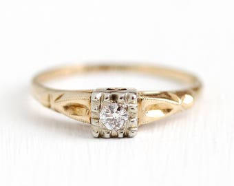Sale - Vintage Diamond Ring - 14k Rosy Yellow & White Gold Size 7 1/4 Two Tone 1940s Engagement Ring - 1/10 CT Wedding Bridal Jewelry