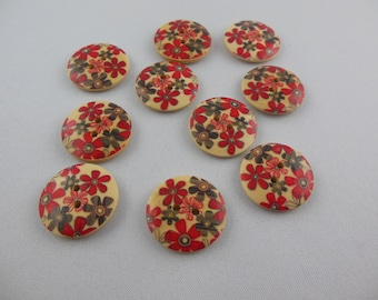 wood button round printed white color