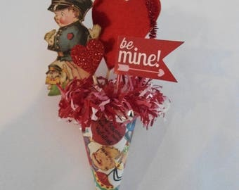 Vintage Inspired Valentine Tussie Mussie Ornament, Little Policeman with dog,  Be Mine, Hearts, Cone, Tinsel,