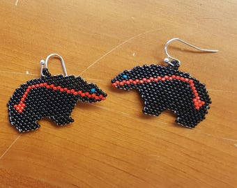 Beaded Bear Earrings