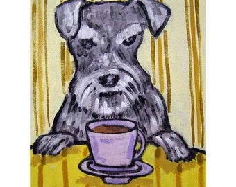 Schnauzer at the Coffee Shop Cafe Dog Art Print