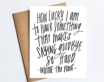 """Pooh Quote """"Saying Goodby So Hard"""" - NOTECARD - FREE SHIPPING!"""