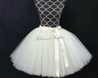 Ivory or White Tutu/Tulle Skirt/Costume/Skirt/Halloween/Festival Clothing/Dance/Wedding Skirt/Ballet Skirt/Tutu Skirt/Tulle Skirt Women