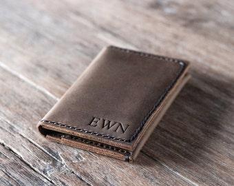 Breast Pocket Wallet PERSONALIZED WALLET - Women's Wallet Leather Wallet / Leather Wallets / 026 /Men Women Leather Wallets - Brown