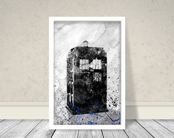 Dr. Who Watercolor Art, Inspired Dr.Who Art, Dr. Who Black and White