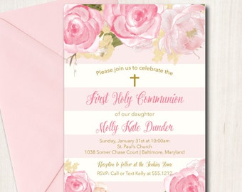 Mexican first communion invitation baptism fiesta invitation first holy communion invitation baptism floral communion invitation printable diy religious solutioingenieria Images