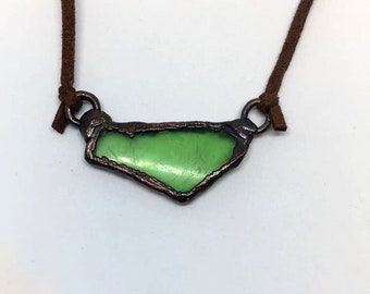 Recycled Glass Necklace, Electroformed Jewelry, Copper Jewelry, Glass Jewelry, Boho Jewelry, Boho Necklace, Recycled Jewelry, Gift Ideas
