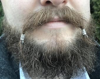 Mustache Bead KIT#2 beard beads viking beard beads biker beard beads Celtic beard beads beard care mustache beads Steampunk mustache kit