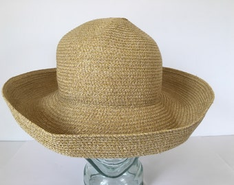 """Vintage Betmar New York, wide 4"""" brim braided paper blend, gold tone/tans hat, pack-able, summer/beach/outdoor med, 22"""". Sun screening hat."""