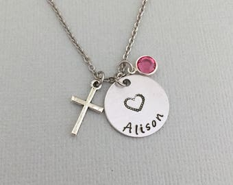 Personalized Christening Necklace, Baptism Necklace, Cross Necklace, First Communion Necklace, Goddaughter Necklace, Godmother Necklace