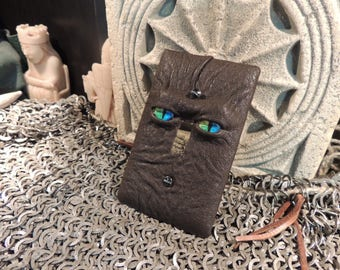 Light switch cover:Brown Leather and Rainbow Eyes