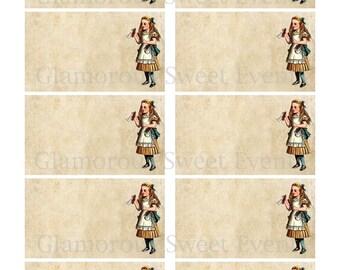 INSTANT DOWNLOAD, Vintage Alice in Wonderland Labels, Digital Collage Sheet, Printable