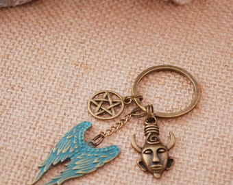 Supernatural keychain, Angel  Wing Keychain, devil traps keychain, Dean Winchester's fans keychain