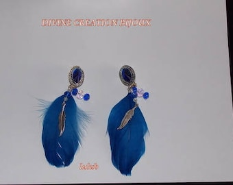 Earrings clip glass beads and blue feather