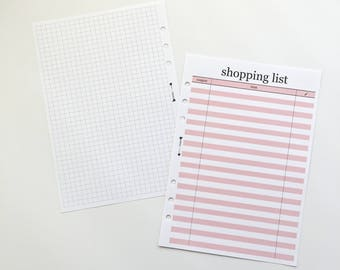 Printed Shopping Lists Inserts / Shopping List Planner Inserts / Stationery / notepad / grid notepad / Grocery List / Shopping Tracker / A5