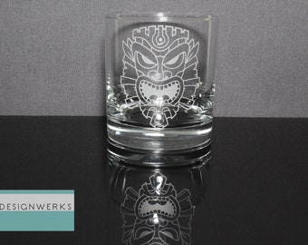 Set of 4 Hand Etched Premium King Tiki Whiskey Bourbon Rocks Glasses