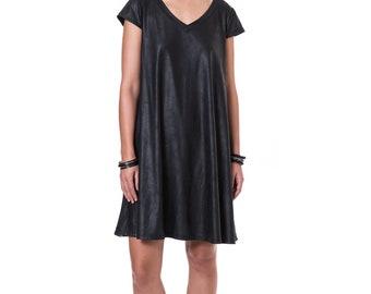 Shiny Black Oversized Knee Length Dress, V Neck Going Out Gown, Fashion Summer Dresses For Women