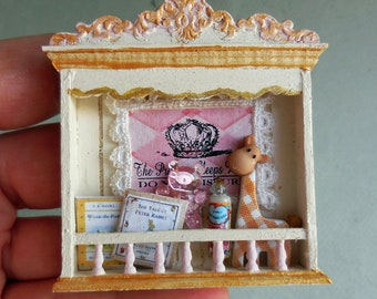 Dollhouse Miniature Pink baby Girl Nursery Shelf, Artisan Made 1:12